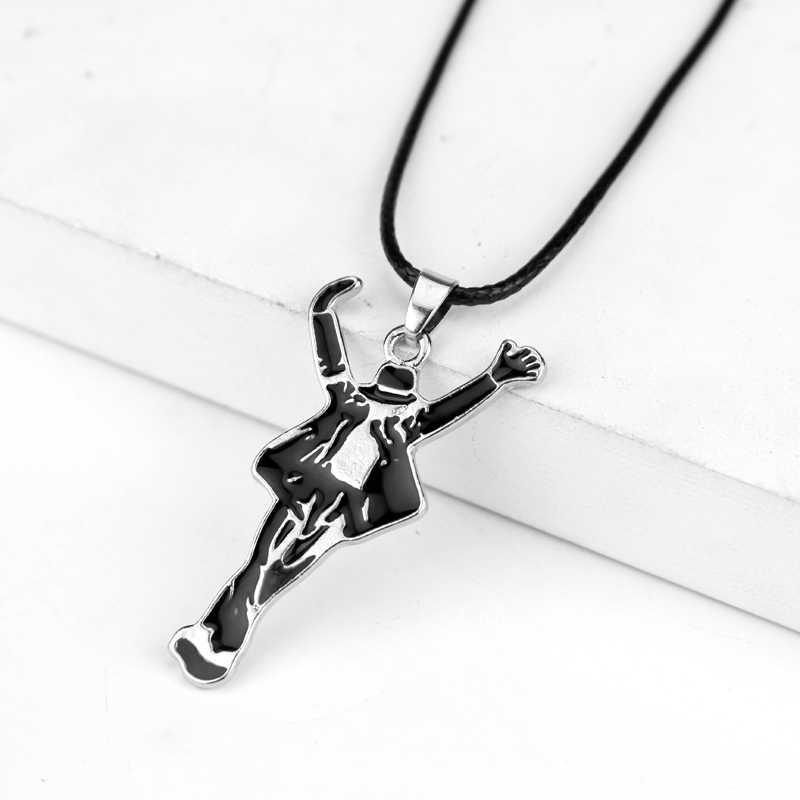 Dongsheng Ornament naszyjniki biżuteria Pop gwiazda piosenkarka wisiorek emaliowany taniec Michael Jackson skórzany naszyjnik ze sznurka pamiątki-30