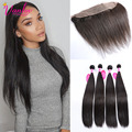 7a Grade Hair Bundles With Lace Frontals Peruvian Virgin Hair Straight 4 Bundles With Frontal Straight Hair With Closure Brown