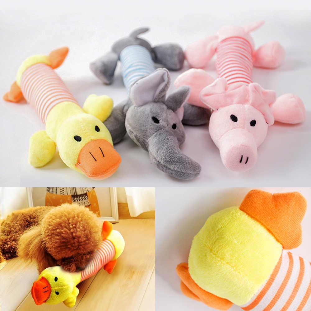 De alta calidad de perro de mascota gato de peluche de Squeak juguetes para perros con sonido mascota cachorro chirriante para masticar de peluche de pato con sonido cerdo y elefante Juguetes