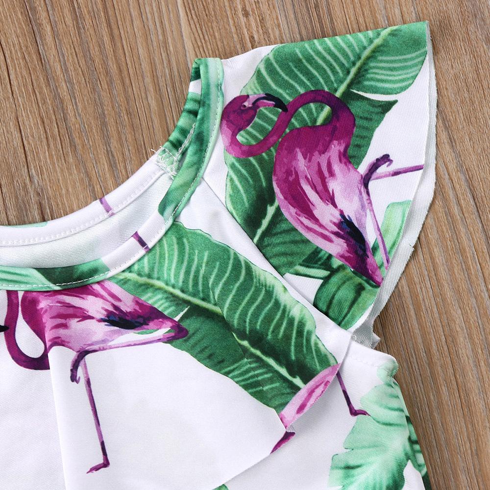 Летний детский купальник для девочки дети Фламинго цветочный принт цельный бикини с рюшами Детские бикини милый купальник для младенцев 19
