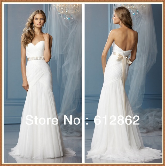 Strapless Sweetheart Low Back Ruched Tulle Long Train Beach Princess ...