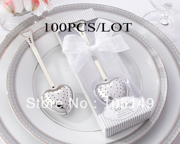 Practical Wedding Gift: 100Pcs/lot Wedding Favors Heart Tea Infuser In Elegant
