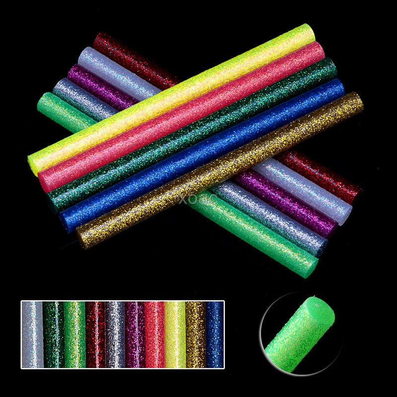 5Pcs/set Colored Hot Melt Glue Sticks 7mm Adhesive Assorted Glitter Glue Sticks Professional For Electric Glue Gun Craft Repair 10pcs 7x100mm hot melt glue sticks for 7mm electric glue gun craft diy hand repair tool adhesive sealing wax stick pink