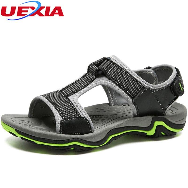 UEXIA New Handmade Leather Men Sandals Shoes Men Outdoor Hook&Loop Casual Summer Male Beach Fashion Breathable Walking Footwear