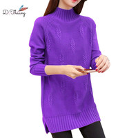 Autumn women sweater 2019 new medium long large size female knitting pullover loose high collar thickening ladies sweater cw625