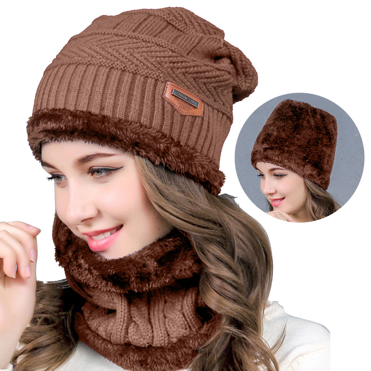 Apparel Accessories Romantic Knitted Hat Scarf Winter Skullies Beanies Female Winter Hats For Women Men Baggy Ring Warm Thicken Fashion Cap Hats 2018