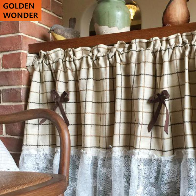 American Country Lace Kitchen Curtains Short Door Curtain Kitchen Curtains  Coffee Curtain Plaid And Lace Cotton Beige Color