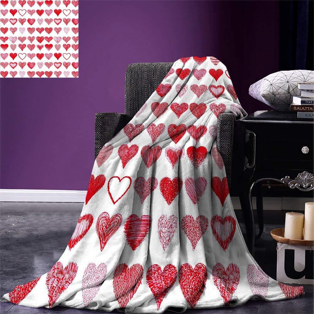 Christmas Blanket Hearts Collection Symbols of Love Hand Drawn Style Romantic Art Warm Microfiber Blanket