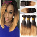 8a Brazilian Short Hair With Closure Ombre Straight Brazilian Hair With Lace Closure 1b 27 30 Human Hair Two Tone With Closure