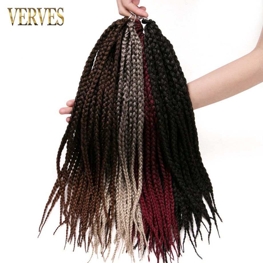5 pack 24 strands/pack VERVES crochet braids hair synthetic box Braids 16 inch kanekalon ombre braiding hair extentions