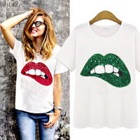 YONO New Fashion Women T Shirt Summer Style Cartoon Mouth Design Camiseta Femme Casual Top Tees