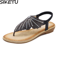 SIKETU Bohemian Wing Butterfly Sandals Women Rhinestone Crystal Flip Flops Summer Beach Flats Gladiator Sandals Ethnic