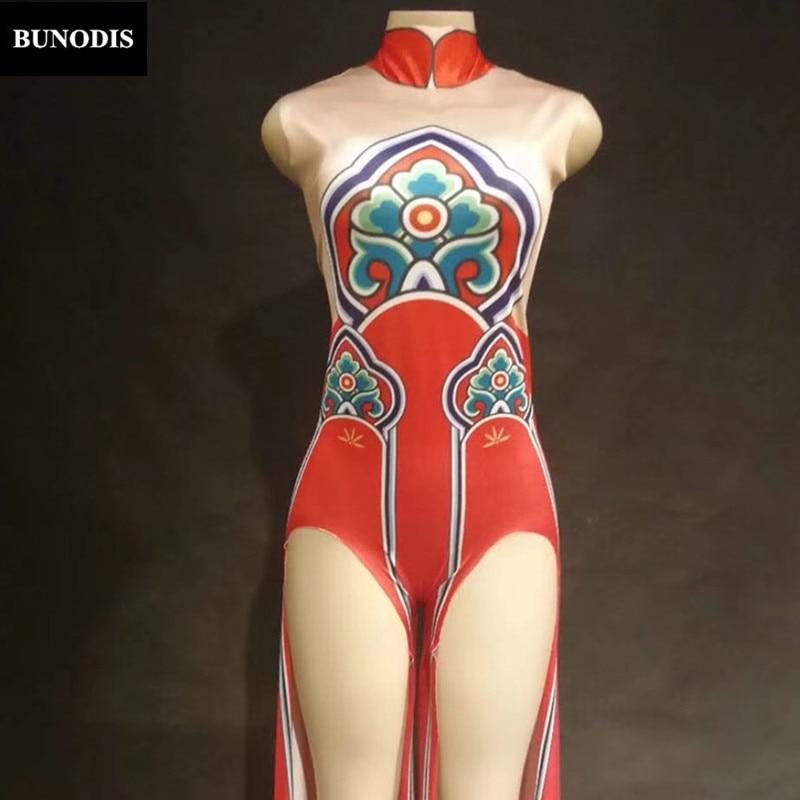 Discothèque Danseur Rouge Body Célébrer Usage Fleurs D'étape Sexy Pantalon Jupe Chanteur Femmes Costumes Performance Long Zd304 8vxBaa