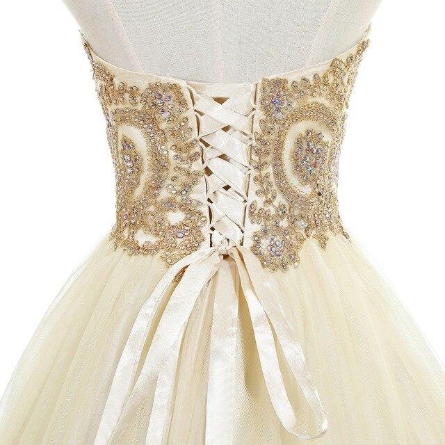 Elegant 2019 Champagne Tulle Short Prom Dresses Sweetheart Neck Sleeveless Gown vestidos de gala In Stock 5