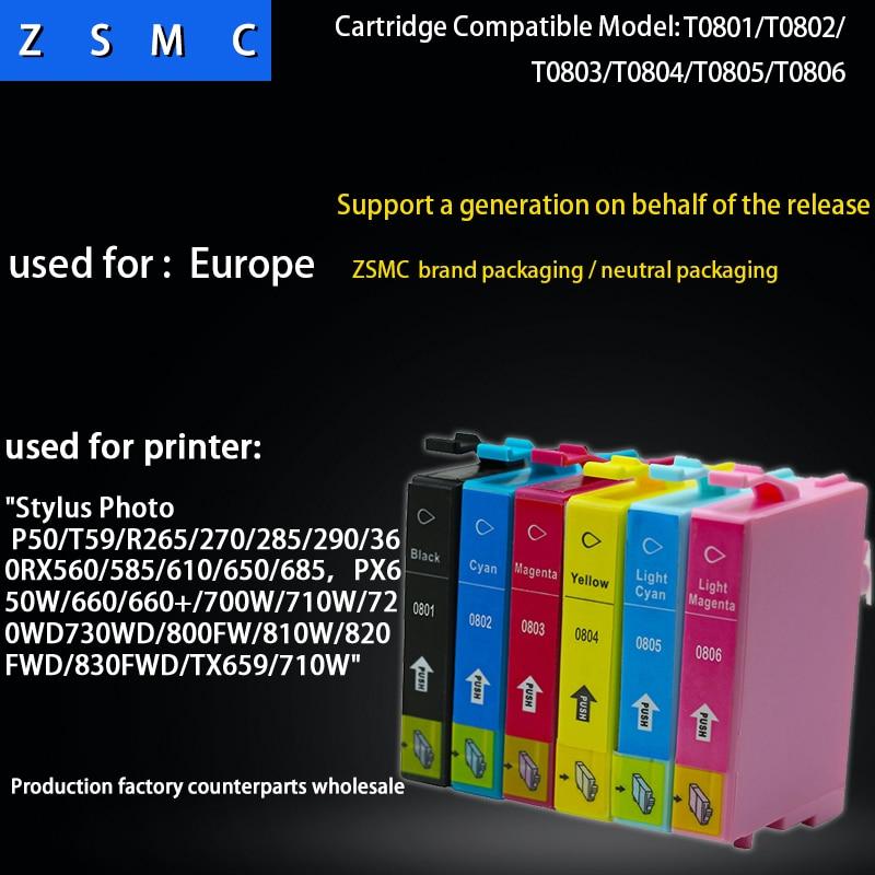 6pcs کارتریج جوهر epson T0801 T0806 سازگار برای PX700W PX710W PX800FW PX650 PX50 PX810FW R265 R360 R285 RX585 px560 rx685