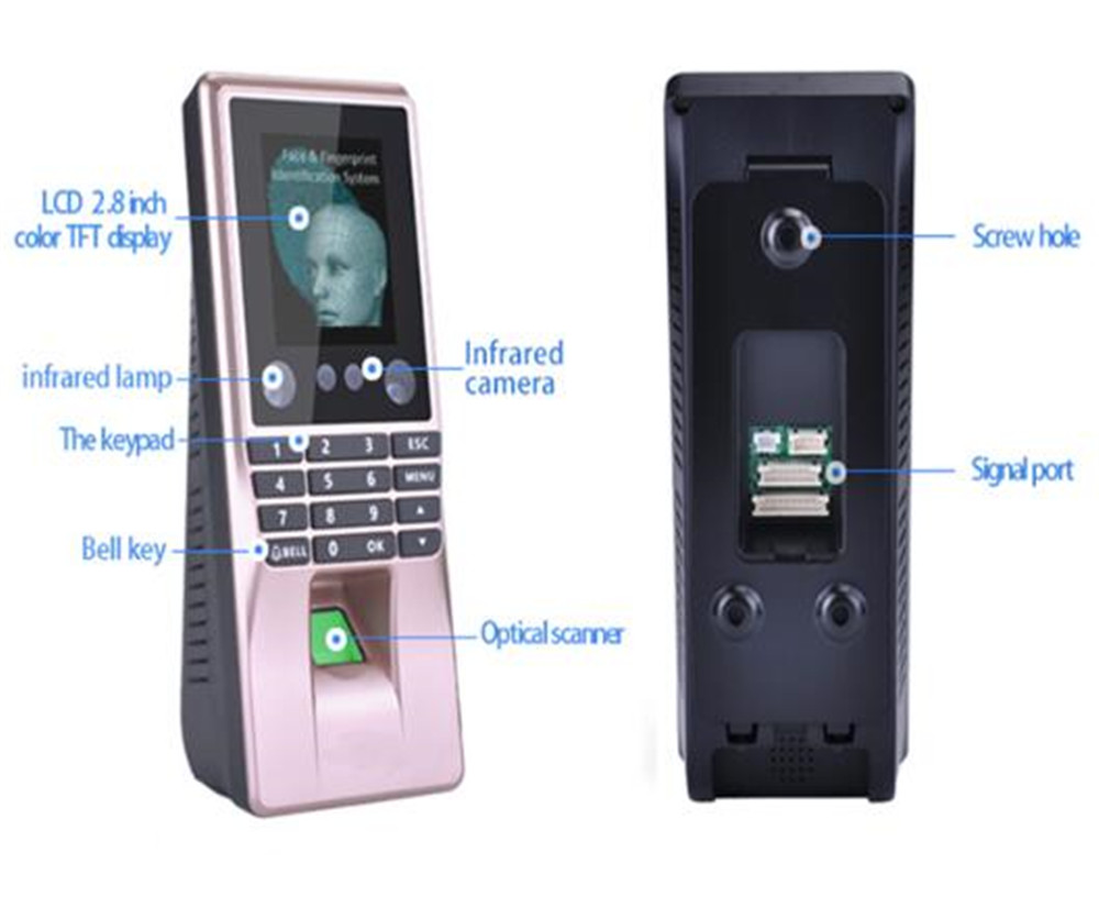 2.8 Inch Biometric Face Recognition Time Attendance Access Control System retinal scan recognition