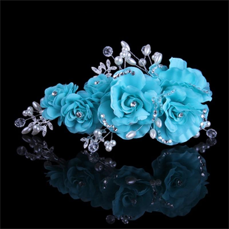 Pink Beige Blue Flower Clip mit exquisiten Hochzeit Braut Strass und - Modeschmuck - Foto 3
