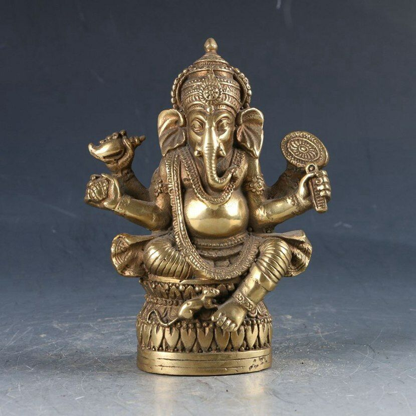 Chinese Brass Tibetan Buddhism Carved Ganesha Elephant StatueChinese Brass Tibetan Buddhism Carved Ganesha Elephant Statue