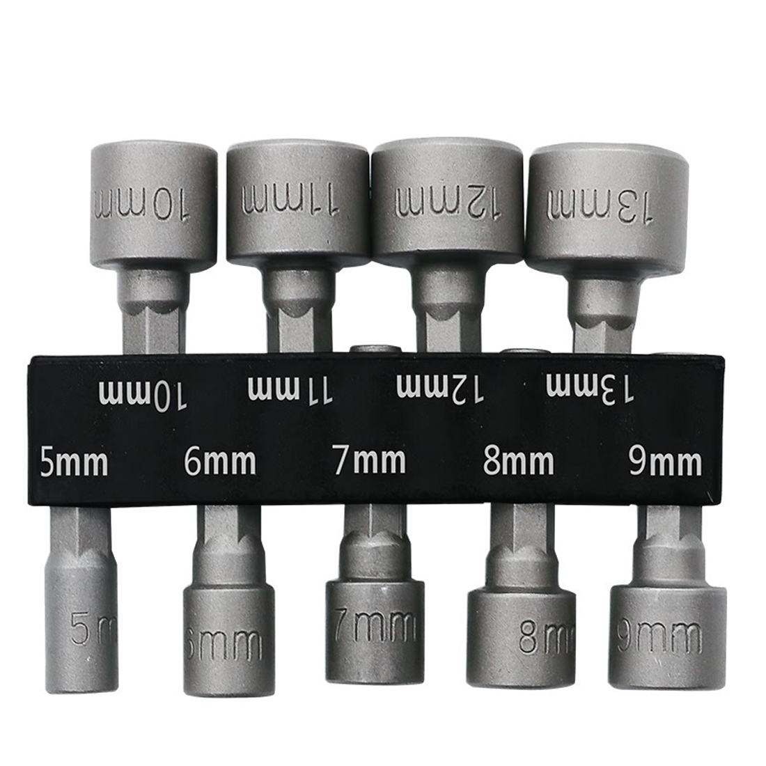 9pcs/set 5mm-13mm 1/4 Inch Hex Shank Socket Sleeve Nozzles Nut Driver Bit Set Drill Bit Adapter Hex Power Tools 10pcs professional magnetic nut driver set metric socket 1 4 hex power drill bits 6mm 15mm hex socket sleeve adapter power tool