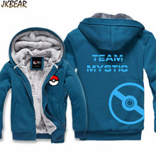 New Faux Lined Hoodies for Men and Women Pokemon Go Team Valor Mystic Instinct Poke Ball Print Jacket Coats with Big Hood M-XXXL