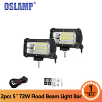 Oslamp 2pcs 5inch 72W LED Light Bar Offroad Led Bar Flood Beam Led Work Light Truck