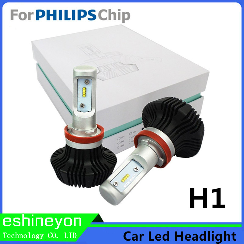 ФОТО 2016 Car styling New H1 LED Headlight Conversion Kit  Headlamp Cool White 6000K Super Bright  For Philips-ZES Chips