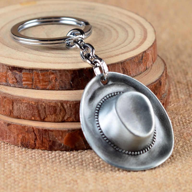 100 ชิ้น/ล็อตแฟชั่นคาวบอยหมวกพวงกุญแจผู้ชายอุปกรณ์เสริม VINTAGE Keyholder Antique Bronze Plated พวงกุญแจพวงกุญแจโซ่จัดส่งฟรี