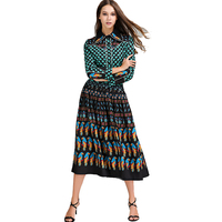 2017 Top Fashion Runway Bohemian Outfit Blouse Pleated Skirt Women Vintage Printed 2 Pieces Set Celebrity