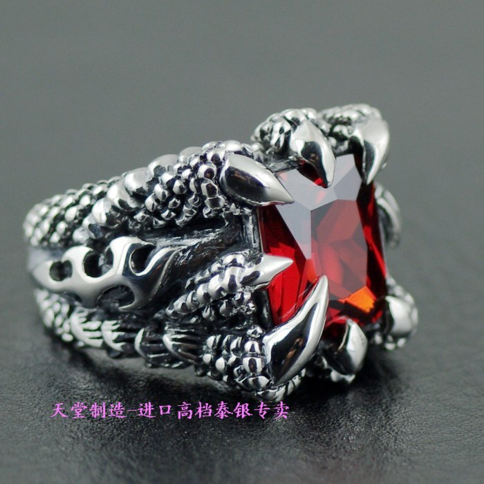 Thailand imports, sharp claws red drill male silver ring thailand imports skull blood new skeleton silver ring