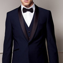 2017 Custom MADE terno slim fit mens suit TAILORED BESPOKE NAVY BLUE BROWN SHAWL LAPEL wedding suits for men (Jacket+Pants+ves)