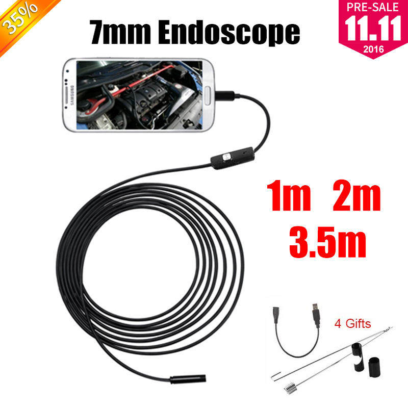 Antscope Endoscope 7mm Mini USB Android Endoscope Camera 1M 2M 3.5M Waterproof Car Inspection Snake Tube USB Endoskop Camera antscope wholesale 7mm lens mini usb android endoscope camera waterproof snake tube 2m inspection usb borescope endoskop camera