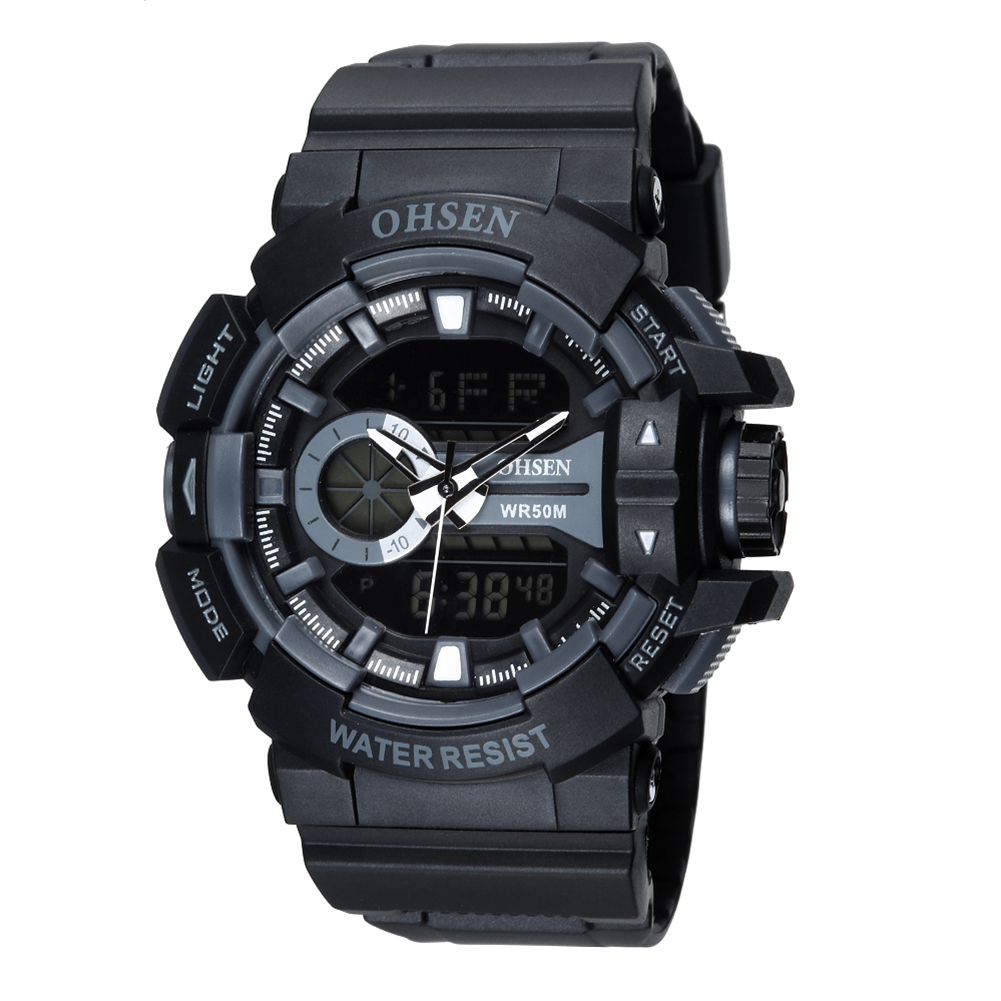 OHSEN Watch Men Sport Waterproof Analog Quartz Digital Mens Watches Military Army Luxury Clock Camping Relogio Masculino montre ohsen 2821 sport quartz watch blue