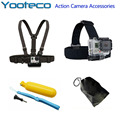 GoPro Accessories Kit 4 in 1 Chest Strap Head Strap Floating Handle Grip bag For Go Pro Hero SJCAM SJ4000 EKEN H9 Xiaomi Yi Cam