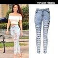 2017 de Cintura Alta Pantalones Vaqueros de Las Señoras Pantalones de Mezclilla de Algodón Stretch Womens Bleach Ripped Jeans Skinny Jeans Denim Jeans Para Mujer