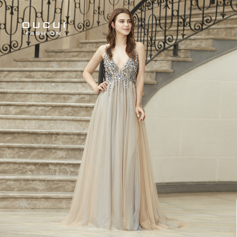 Oucui Real Photo Ball Gown Spaghetti Strap Illusion Long Evening Dress 2019 Hand Work Beaded Deep V neck Prom Dresses  OL103012