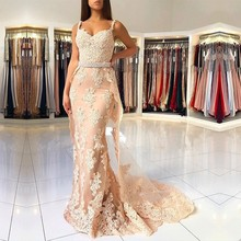 Champagne 2020 Prom Dresses Mermaid Sweetheart Beaded Lace Appliques Tulle Long Gown Evening Robe De Soiree