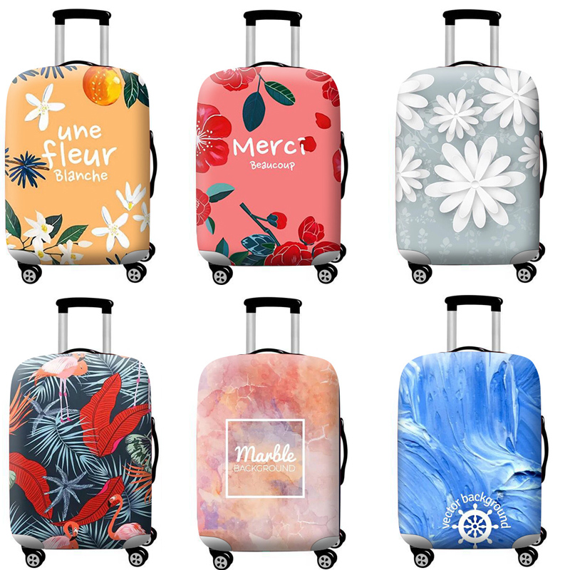Travel Accessories Luggage Cover Suitcase Protection Set Baggage Dust Cover Trunk Set Trolley Case Elasticity Flower Pattern