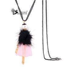 Korean version of sweater chain fashion doll styling accessories winter long necklace female villain necklace pink veil