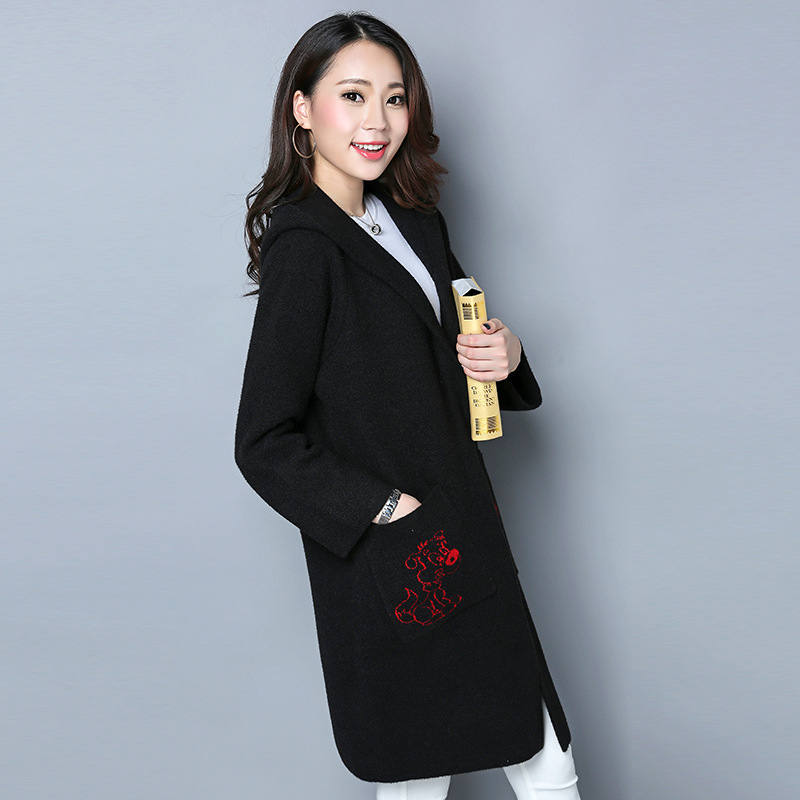 10ab73175c62 2017 Solid Animal Print Jacket Women Long Sleeve Cardigan Casual Coat  Female Elegant Double Breasted V neck Parkas Mujer ZJP14-in Wool   Blends  from Women s ...