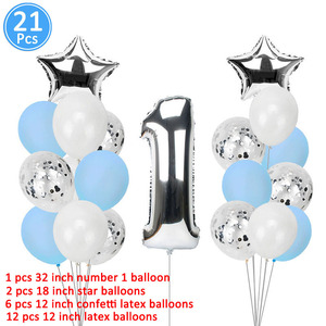 Image 2 - 1st Happy Birthday Blue Silver Balloons Foil Number Balloons Banner First Baby Boy Party Decorations My 1 One Year Supplies
