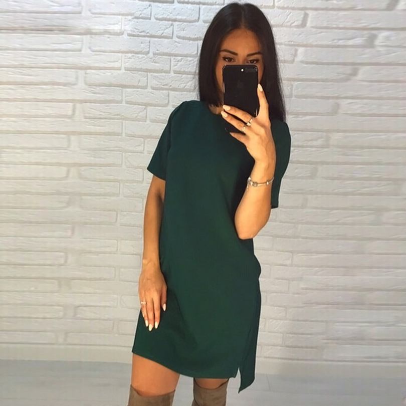 2018 New Green&Blue&Black Women's Short Sleeve Vintage O-Neck Sheath Dress Beach Mini Dresses Plus Size Vestidos