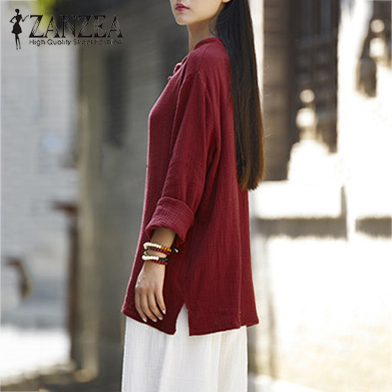 629a05ce9f338 ZANZEA Women Chinese Buttons Linen Shirt Autumn Casual Stand Collar Long  Sleeve Solid Blouse Baggy Cotton Blusas Top Plus Size-in Blouses   Shirts  from ...