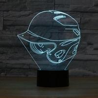 Baseball Cap 3D Lamp Baby Sleeping Lamp 7 Color Changing Shape Small Night Light LED Desk Lamp Atmosphere lamp