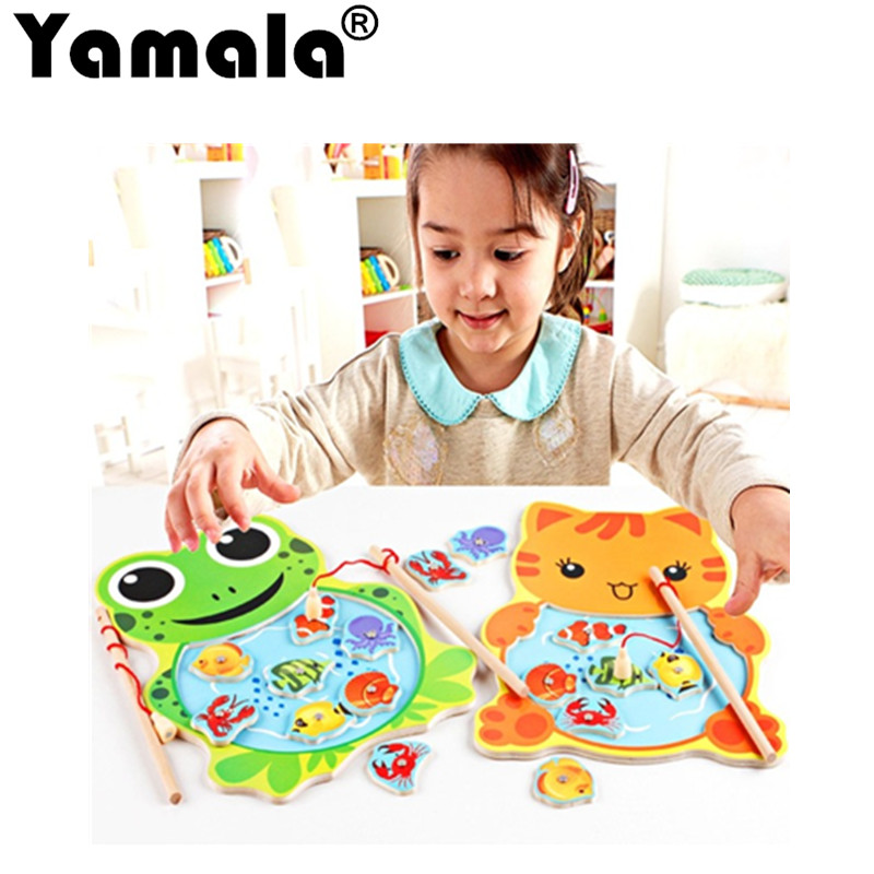 [Yamala]1 piece Baby Wooden Toys Magnetic Fishing Game Jigsaw  Board 3D  Puzzle Children Education Toy for Children buw constellation frame series pisces diy wooden 3d puzzle jigsaw model g pf102 creative toys of boys girls preschool education games