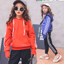 baby clothes 2019 new girls spring autumn casual two-piece sports long-sleeved hooded shirt + pants 3-12 baby girl clothes цены онлайн