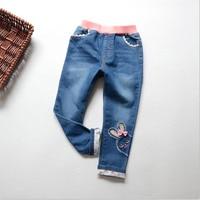 Baby Girls Jeans New Autumn 2017 Children Cartoon Rabbit Embroidery Pants Girls Flower Bow Denim Trousers Fashion New Design