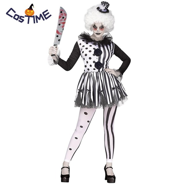 Dames Kostuum Zwart Wit.Us 25 16 32 Off Vrouwen Killer Clown Kostuum Dames Zwart Wit Multi Gelaagde Tutu Jurk Volwassen Evil Scary Joker Meisje Halloween Fancy Dress In
