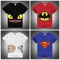 2016 Nova Moda Crianças Tshirts Lycra Penteado Bonito Desdentado & Batman & Superman Impresso Tees Meninos & Meninas de Verão Curto Camisa de manga comprida