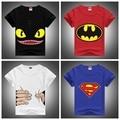 2016 Nuevos Niños de La Manera Camisetas Lycra Peinado Lindo Desdentado y Batman y Superman Impreso Camisetas Niños y Niñas de Verano Corto Camisa de manga