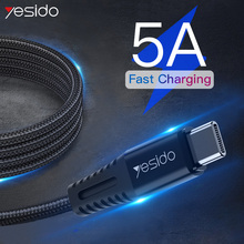 Yesido CA31 5A USB Type C Cable For Samsung S10 S9 S8 Plus Xiaomi Huawei USB C Mobile Phone Cables Fast Charging Type-c Cable usb type c cable for samsung galaxy s9 s8 plus fast charging data cable for oneplus 6t huawei mobile phone charger usb c cables